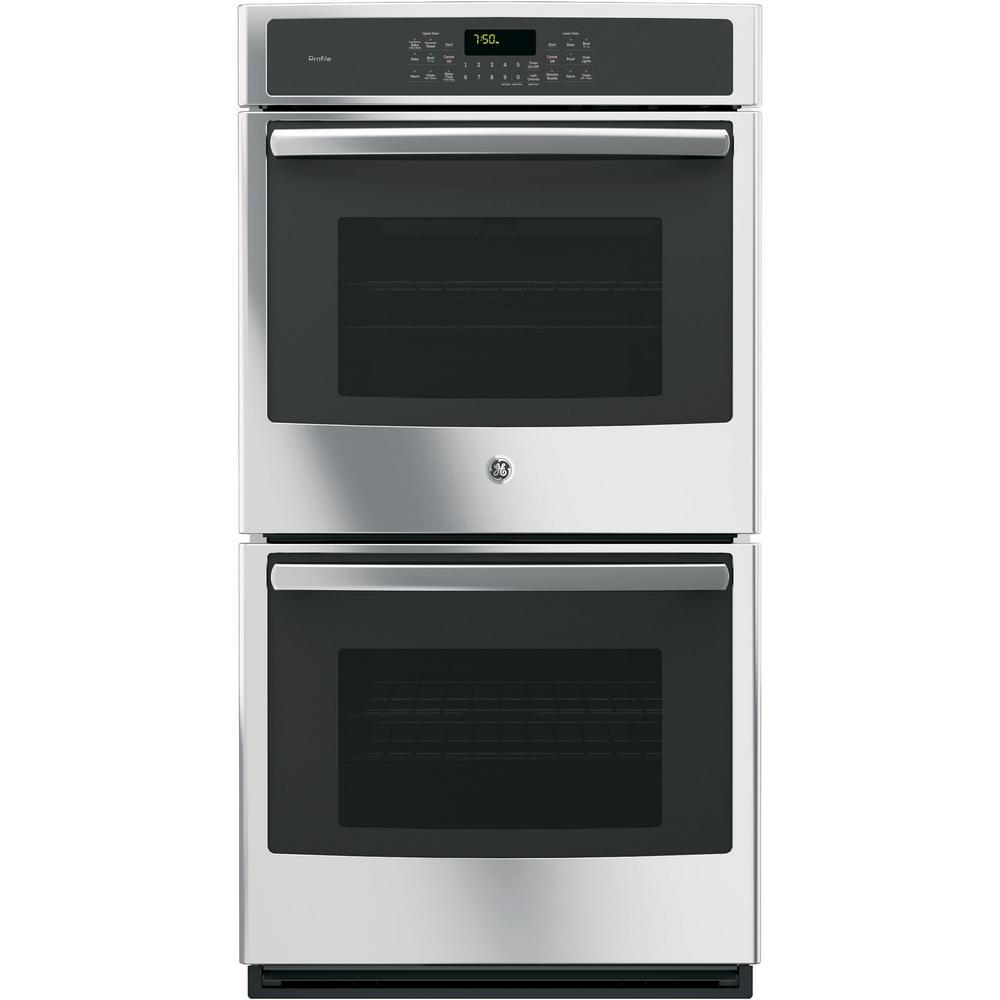 GE Profile 27 in. Double Electric Smart Wall Oven Self-Cleaning with Steam Plus Convection and WiFi in Stainless Steel