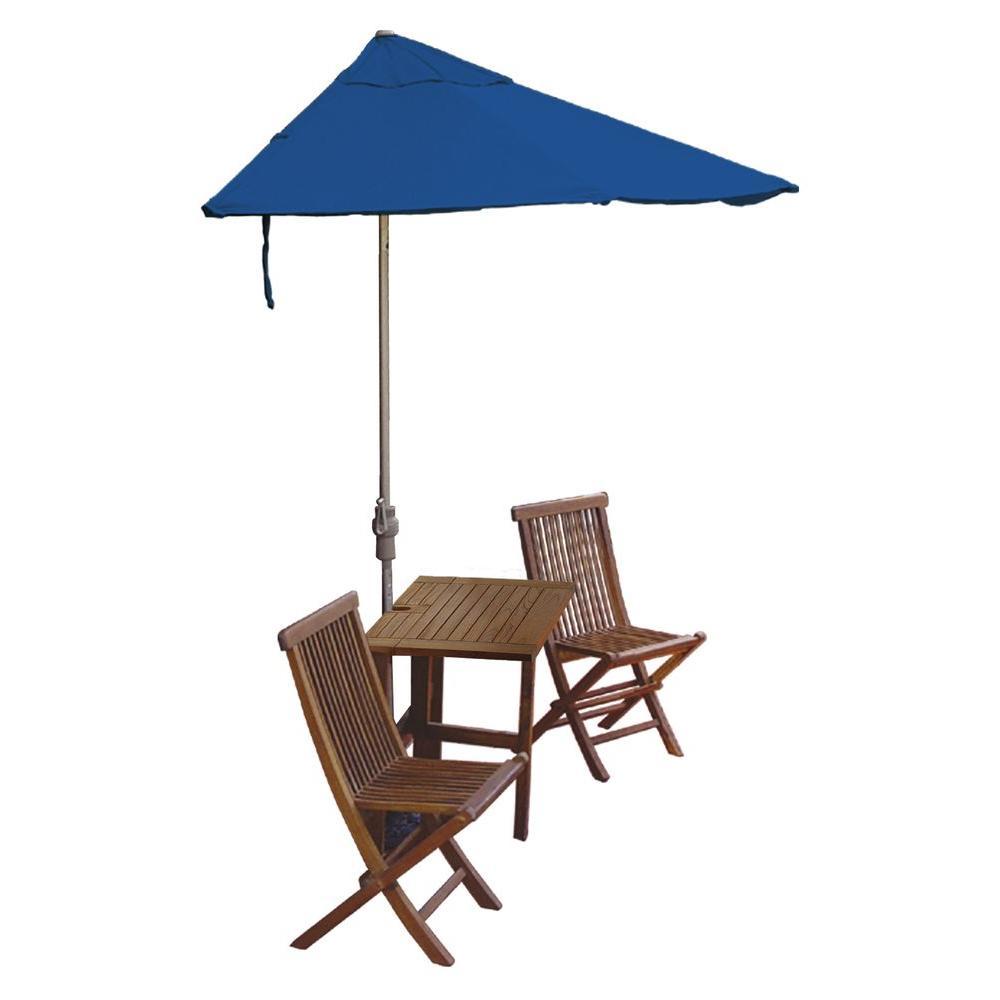 Blue Star Group Terrace Mates Villa Premium 5-Piece Patio Bistro Set with 9 ft. Blue Sunbrella Half-Umbrella