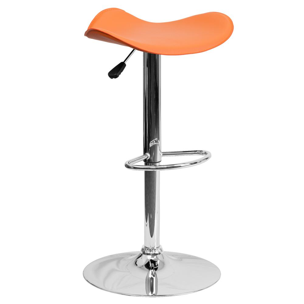 Adjustable Height Orange Bar Stool