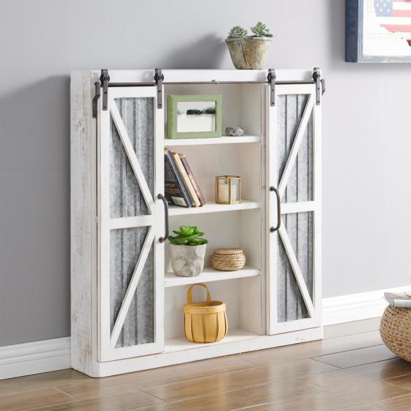 FirsTime & Co. 34 in. Wynne Distressed White Barn Door Cabinet