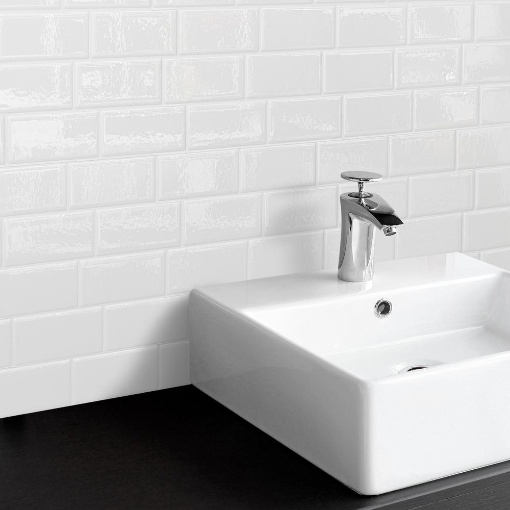 Smart Tiles Metro Blanco 11.56 in. W x 8.38 in. H White Peel and ...