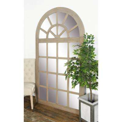 Arched Stained Beige Decorative Wall Mirror