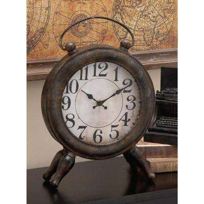 13 in. 10 in Iron Round Table Clock in Rusted Finish