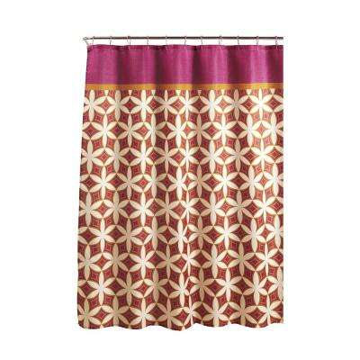 Diamond Weave Textured 70 in. W x 72 in. L Shower Curtain with Metal Roller Rings in Harajuku Pink/Orange