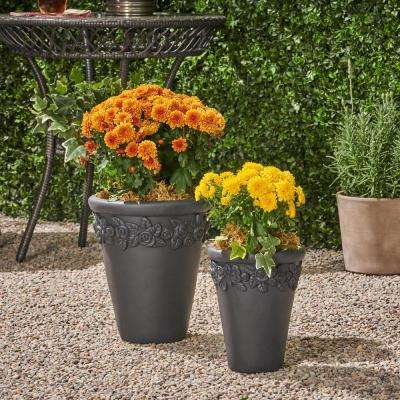 Alba 8.5 in. x 8.5 in. Black Concrete Outdoor Garden Planter Pots wth Floral Accents (2-Pack)