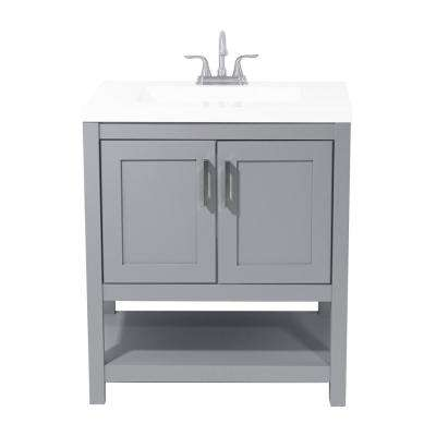 Tufino 31 in. Bath Vanity in Grey with Cultured Marble Vanity Top in White with White Basin