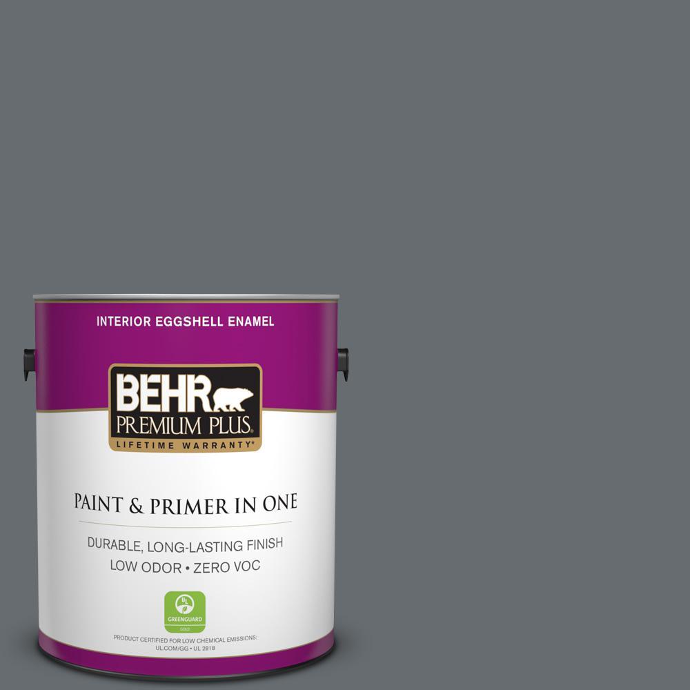 BEHR Premium Plus 1-gal. #PPF-49 Platinum Gray Zero VOC Eggshell Enamel Interior Paint