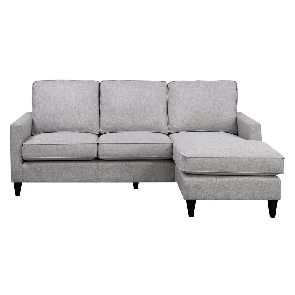 chaise sectional grey microfiber poundex a ash sofa reversible steal radford