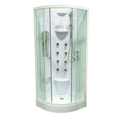 Corner 31.5 in. D x 31.5 in. W x 84.7 in. H Shower Kit in White Color