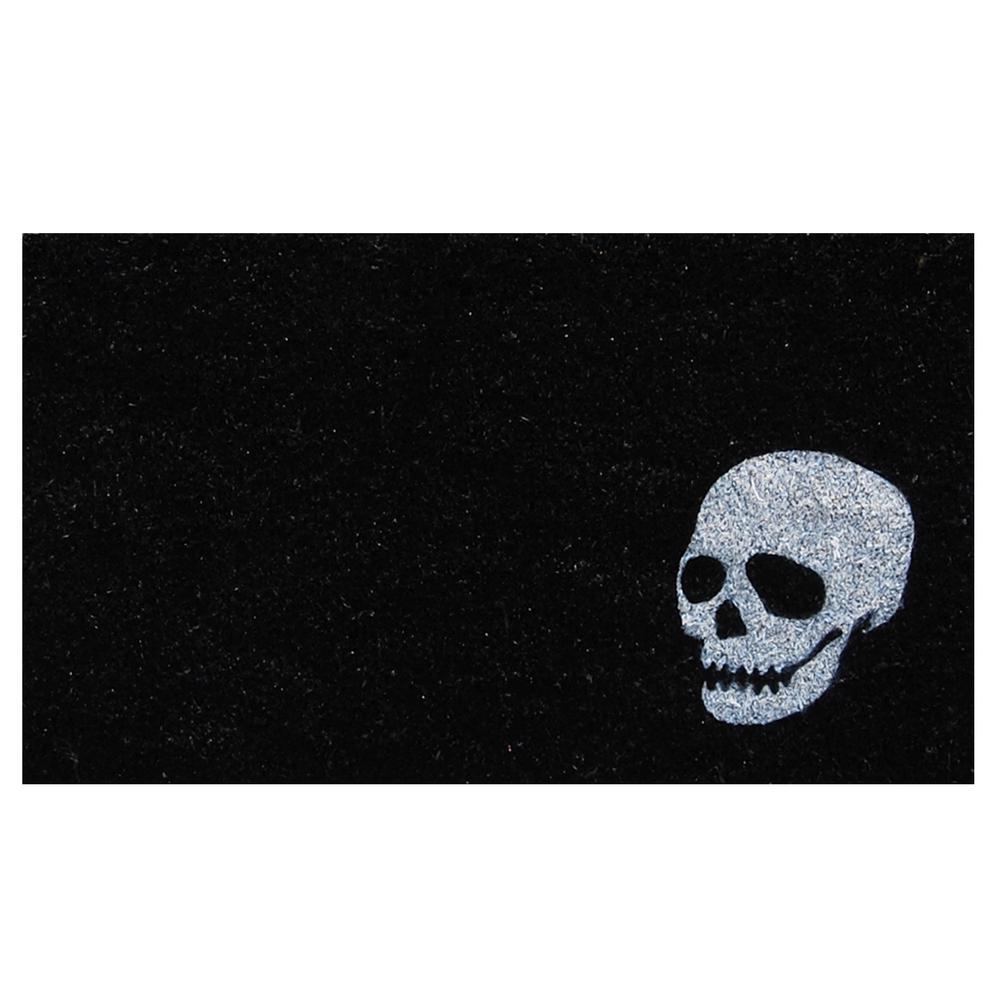 White Skull 17 in. x 29 in. Coir Door Mat