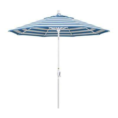 9 ft. Matted White Aluminum Push Button Tilt Crank Lift Market Patio Umbrella in Cabana Regatta Sunbrella