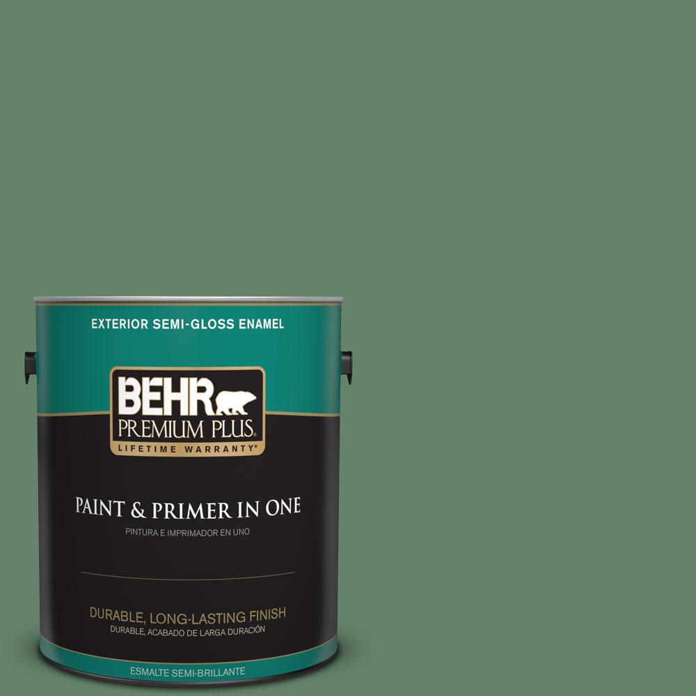 1-gal. #BIC-55 Garden Greenery Semi-Gloss Enamel Exterior Paint