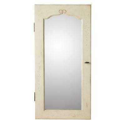 Provence Wall Mount Jewelry Armoire with Mirror in White