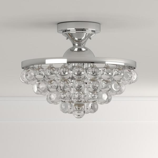 Home Decorators Collection 13 In 4 Light Chrome Semi Flush Mount With Clear Crystal Balls Shade 24429fm 15 The Home Depot