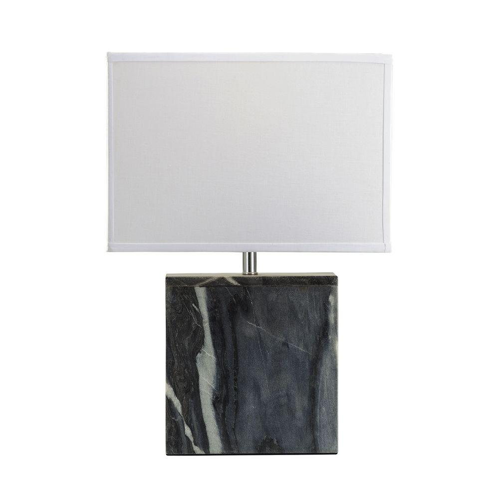 Titan Lighting 20 in. Grey Marble Square Table Lamp-TN-999786 ...