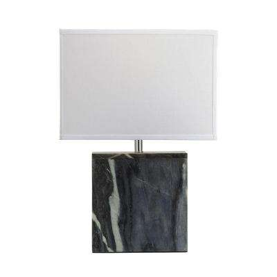 20 in. Grey Marble Square Table Lamp