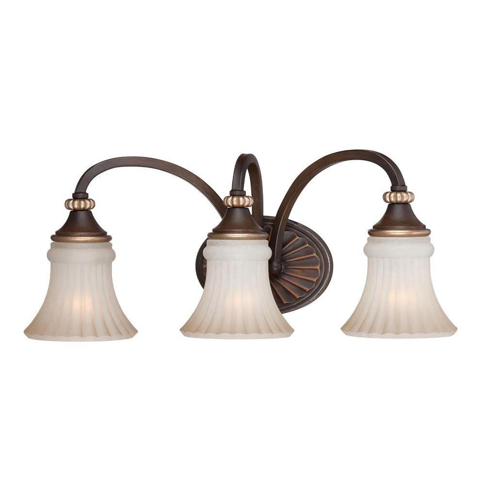 Hampton Bay Reims 3 Light Berre Walnut Vanity Fixture 15363 The Home Depot