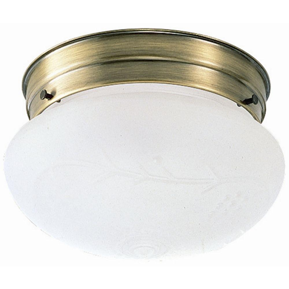 Design House 1 Light Antique Br Ceiling Fixture With Frosted Etched Gl