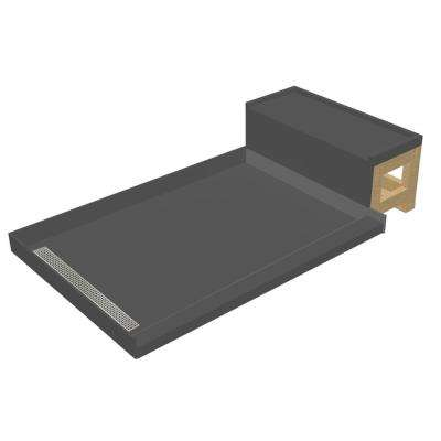 48 in. x 72 in. Single Threshold Shower Base in Gray and Bench Kit with Left Drain and Polished Chrome Trench Grate