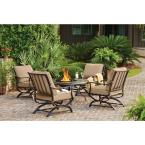 Redwood Valley Black 5-Piece Steel Outdoor Patio Fire Pit Seating Set with Sunbrella Beige Tan Cushions