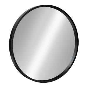 Medium Round Black Contemporary Mirror (21.6 in. H x 21.6 in. W)