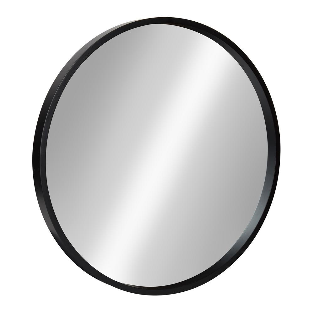 Medium Round Black Contemporary Mirror (21.6 in. H x 21.6 in. W)