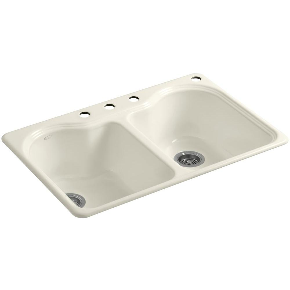 Medium image of kohler hartland drop in cast iron 33 in  4 hole double bowl kitchen sink in white k 5818 4 0   the home depot
