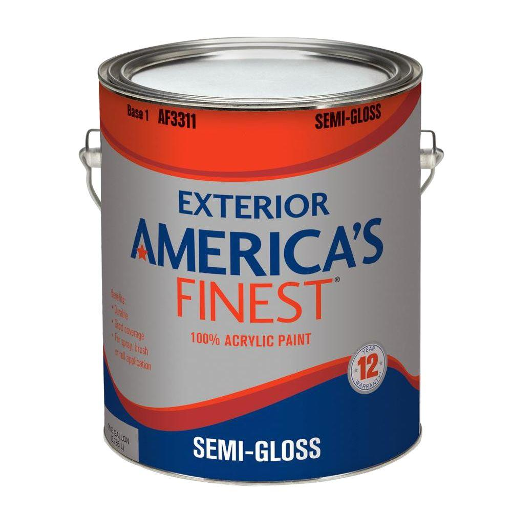 America 39 S Finest 1 Gal Semi Gloss Latex Light Colors Exterior Paint Af3311n 01 The Home Depot