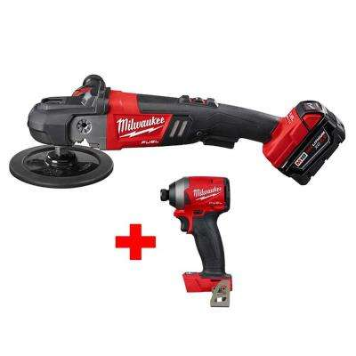 M18 FUEL 18-Volt Lithium-Ion Brushless Cordless 7 in. Variable Speed Polisher Kit with Free M18 FUEL Impact Driver