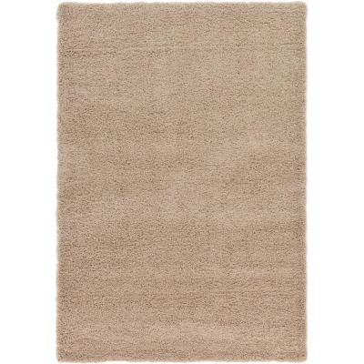 Solid Shag Taupe 6 ft. x 9 ft. Area Rug