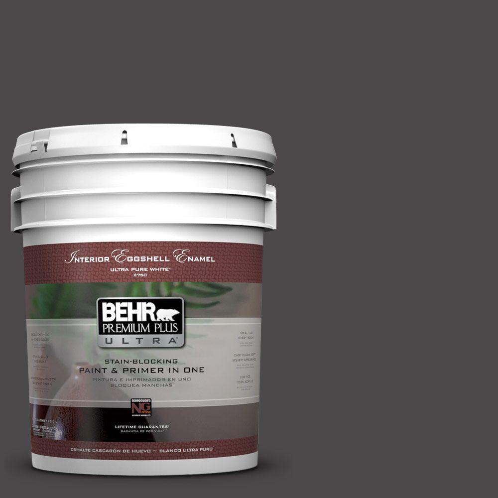 BEHR Premium Plus Ultra 5-gal. #N530-7 Private Black Eggshell Enamel Interior Paint