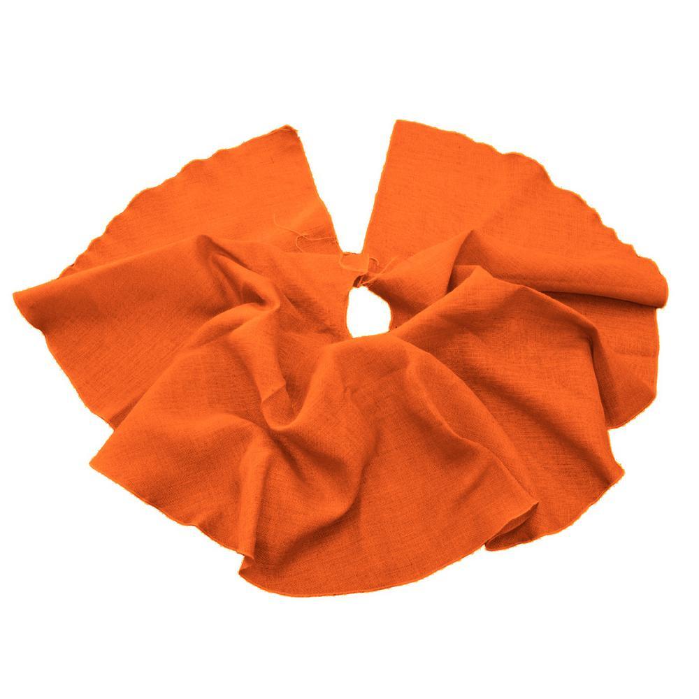 L.A. Linen 60 in. Burlap Christmas Tree Skirt Decor, Orange