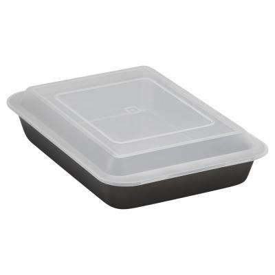 Essentials Oblong Cake Pan with Plastic Cover