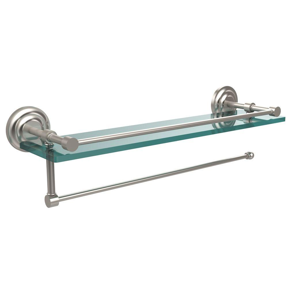 Allied Brass Prestige Que New 22 in. L x 5 in. H x 5 in. W Paper Towel Holder with Gallery Clear Glass Shelf in Satin Nickel