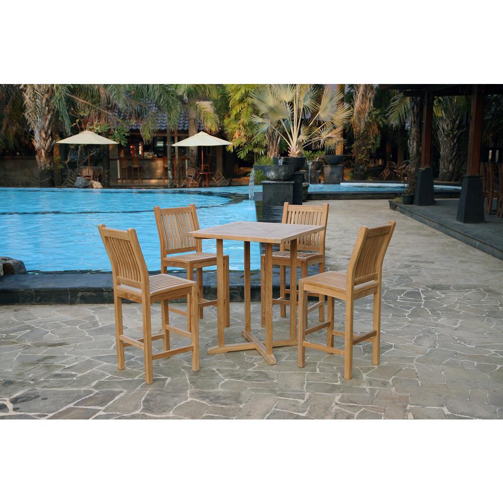 Jakarta 5-Piece Teak Outdoor Bar Height Dining Set