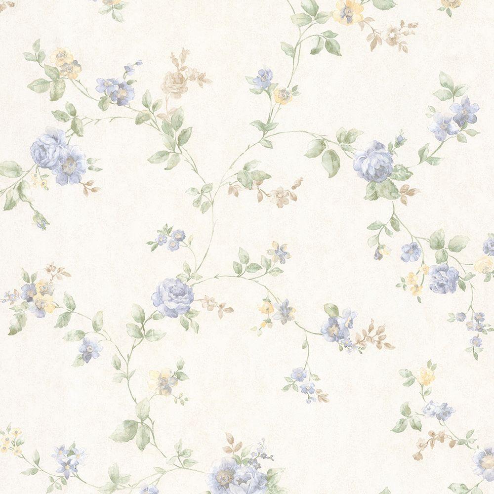 Mary Light Blue Floral Vine Wallpaper