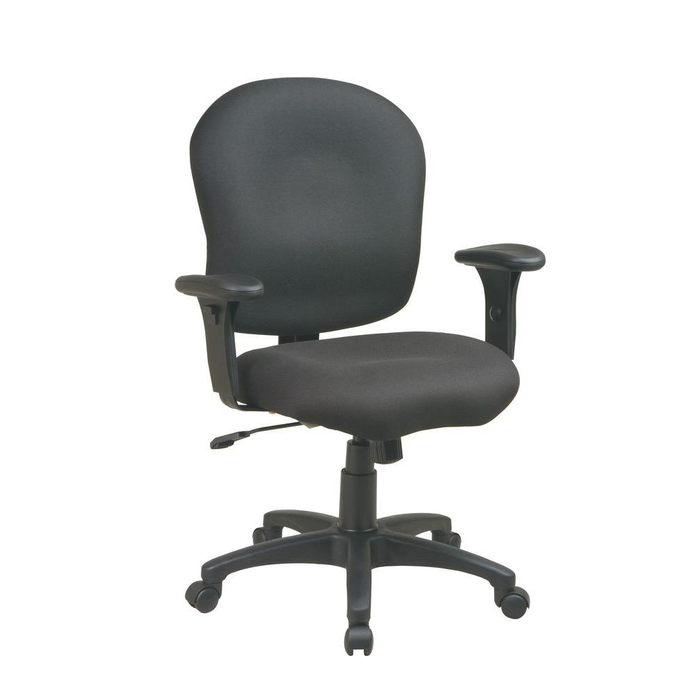 Work Smart Black Fabric Saddle Seat Office Chair