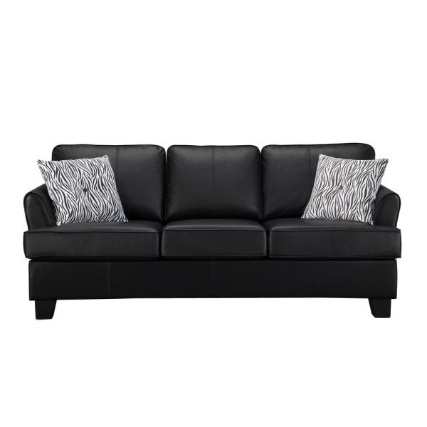Leather Hide A Bed Sofa: Signature Home Gracie Black Faux Leather Hide-A-Bed Sofa