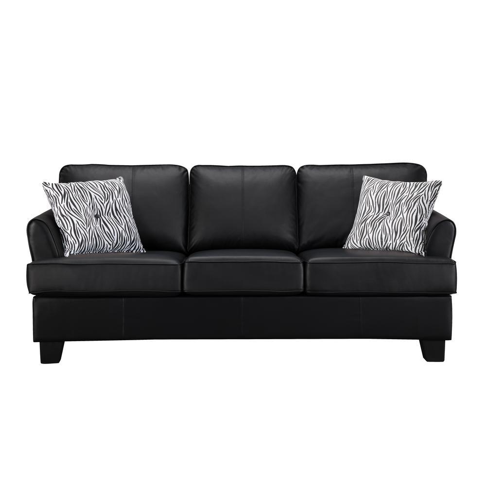 Signature Home Gracie Black Faux Leather Hide-A-Bed Sofa ...
