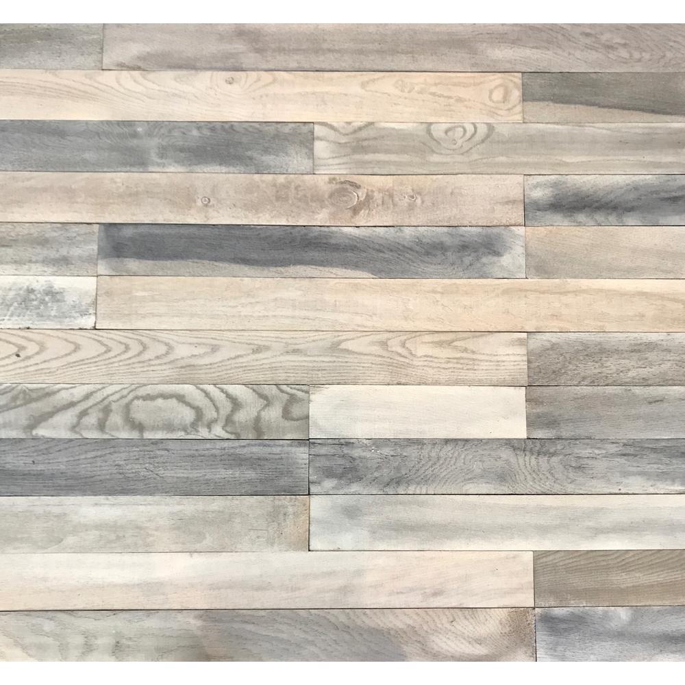 Shiplap Plank 0.5 in. H x 3.5 in. W x 12 in. 36 in. L Whitewash Wood Wall Planks (20 sq. ft. / case)