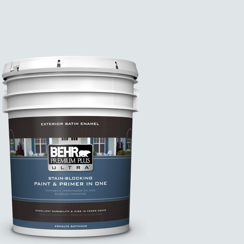 BEHR Premium Plus Ultra 5-gal. #BL-W2 Ice Sculpture Satin Enamel Exterior Paint