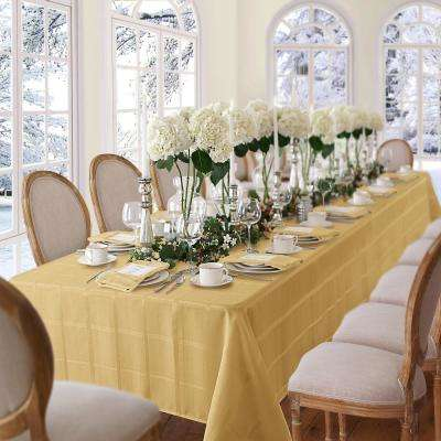 60 in. W x 84 in. L OvaL Ribbon Gold Elrene Elegance Plaid Damask Fabric Tablecloth