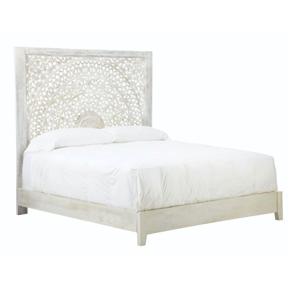 Home Decorators Collection Chennai White Wash King Platform Bed ...