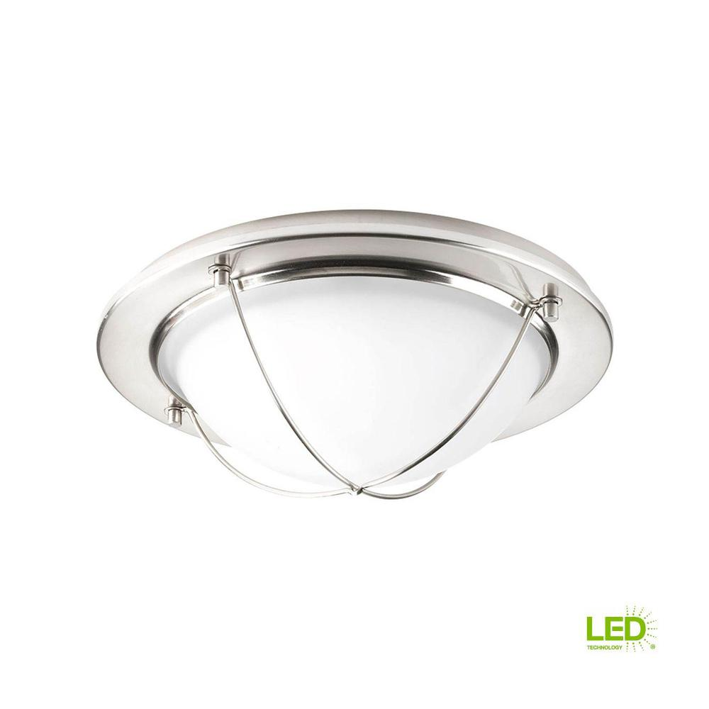 11 in. Portal Collection 1-Light Brushed Nickel Integrated LED Flushmount