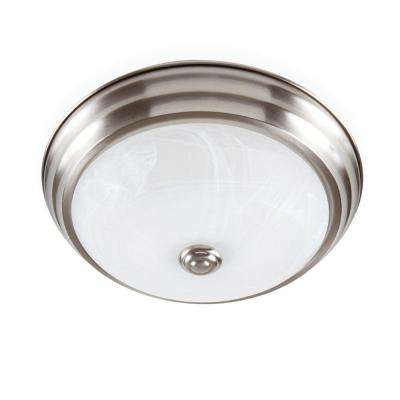 Brushed Nickel Dimming LED Flushmount with Alabaster Glass