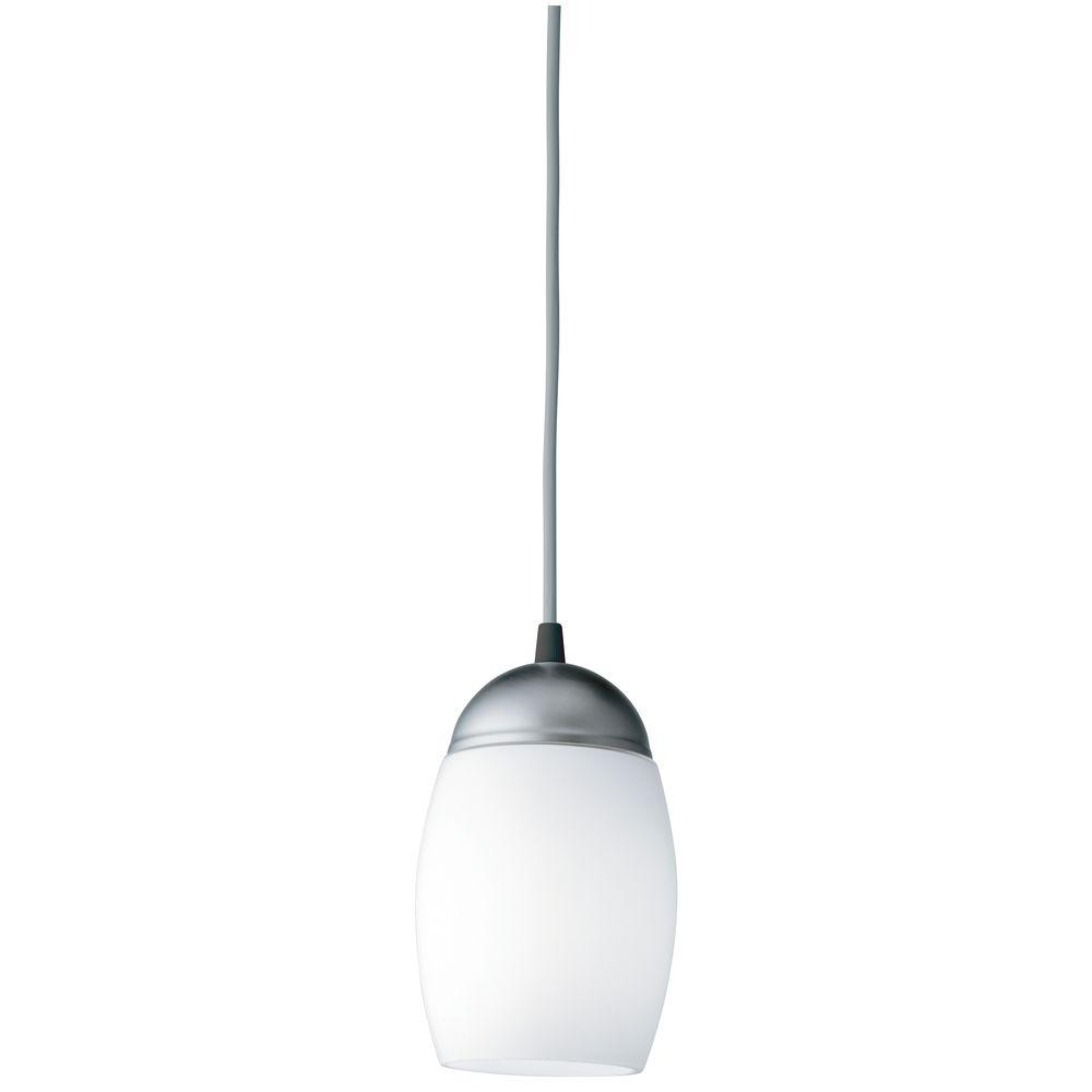 Acorn 1-Light White Glass Mini Pendant with Compact Integrated Spiral Lamp