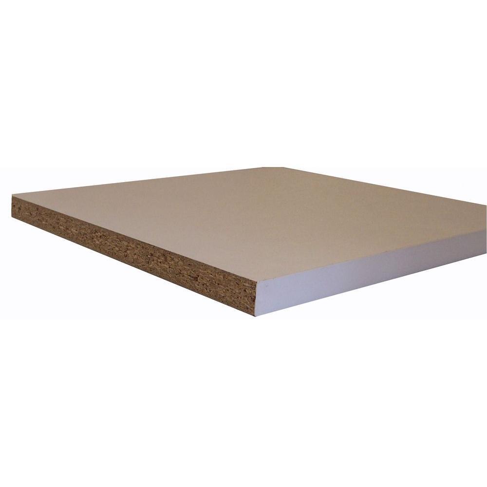 Melamine White Shelf Board (Common: 3/4 in. x 15-3/4 in. x 8 ft.; Actual: 0.75 in. x 15.75 in. x 97 in.)
