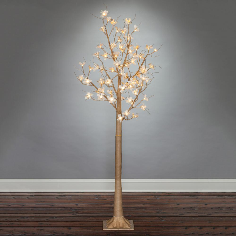 Gerson 6' Lit Magnolia Tree with 72 Warm White Lights, Br...