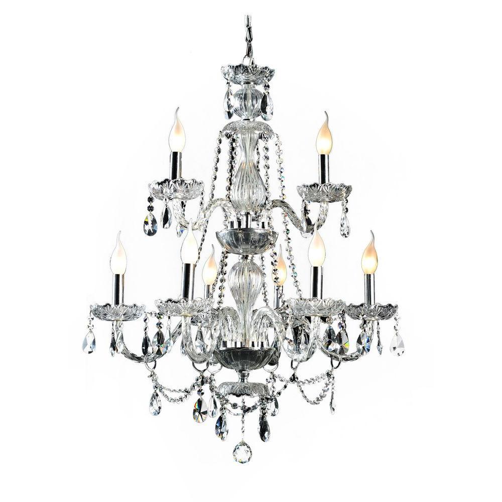 Crystal Venetian Chandeliers: Decor Living Venetian 9-Light Crystal And Chrome