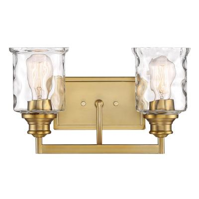 Drake 2-Light Brushed Gold Bath Bar Vanity Light
